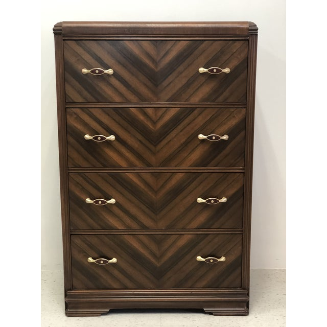 Brown Art Deco Walnut Waterfall Edge Chest of Drawers For Sale - Image 8 of 8