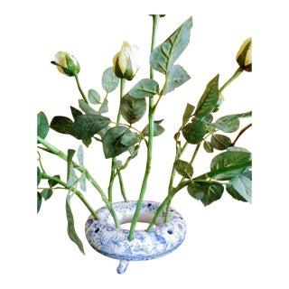 Unusual Blue and White Round Portuguese Ceramic Tulipiere Flower Holder Pot For Sale