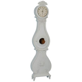 Antique 19th Century Swedish Mora Clock Painted White For Sale