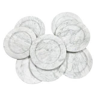 Carrara Marble Dinner Plates - Set of 8 For Sale