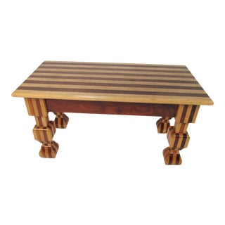 Handmade Coffee Table in Solid Walnut and Maple by James Destito For Sale