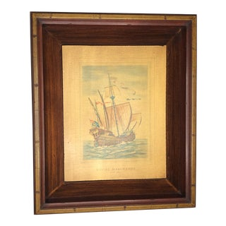 17th Century Antique Vessel Ship Picture For Sale