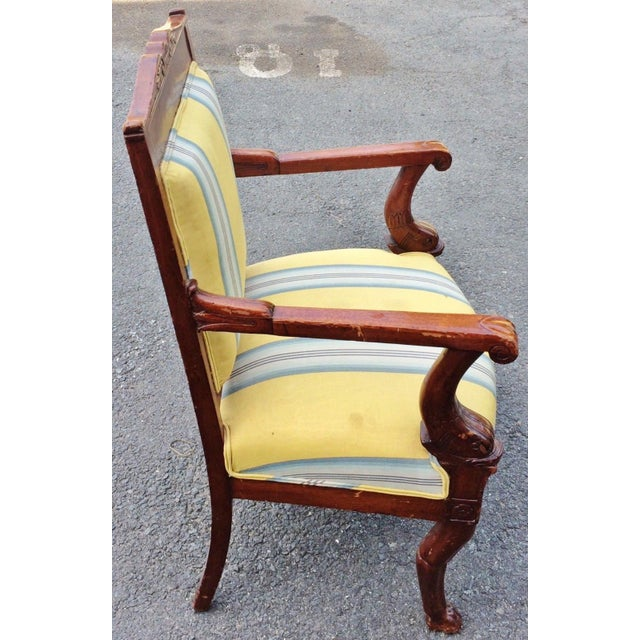 Egyptian Revival 19th Century Napoleonic Mahogany Carved Arm Chair For Sale - Image 3 of 12