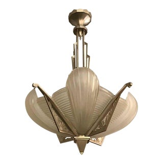 French Art Deco Skyscraper Chandelier Signed by Atelier Petitot For Sale