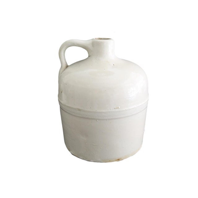 Antique Small White Whiskey Crock Stoneware Jug For Sale - Image 4 of 5