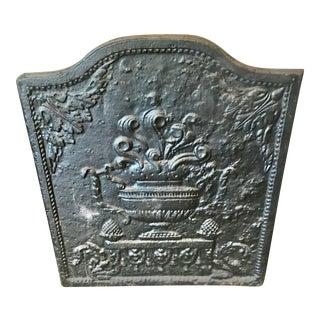 Antique Fireplace Cast Iron Back For Sale