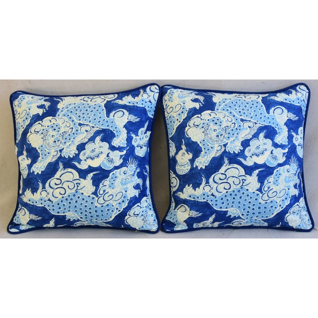 "Pair of large 22"" custom-tailored double sided/reversible chinoiserie pillows. Pillow fronts are a vintage/never used..."