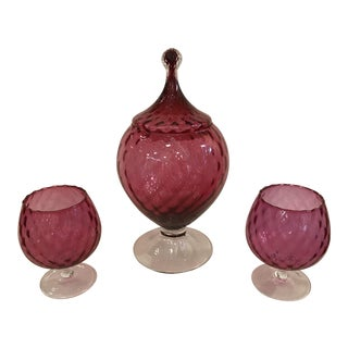 Vintage Cranberry Glass Set - Set of 3