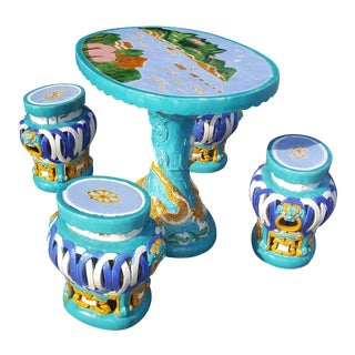 1960s Chinese Majolica Ceramic Garden and Patio Table and Stools For Sale