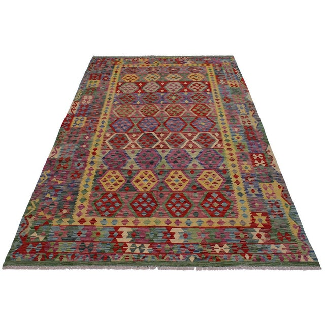 2000 - 2009 Bohemian Tressa Pink/Blue Hand-Woven Kilim Wool Rug - 6'10 X 9'9 For Sale - Image 5 of 8