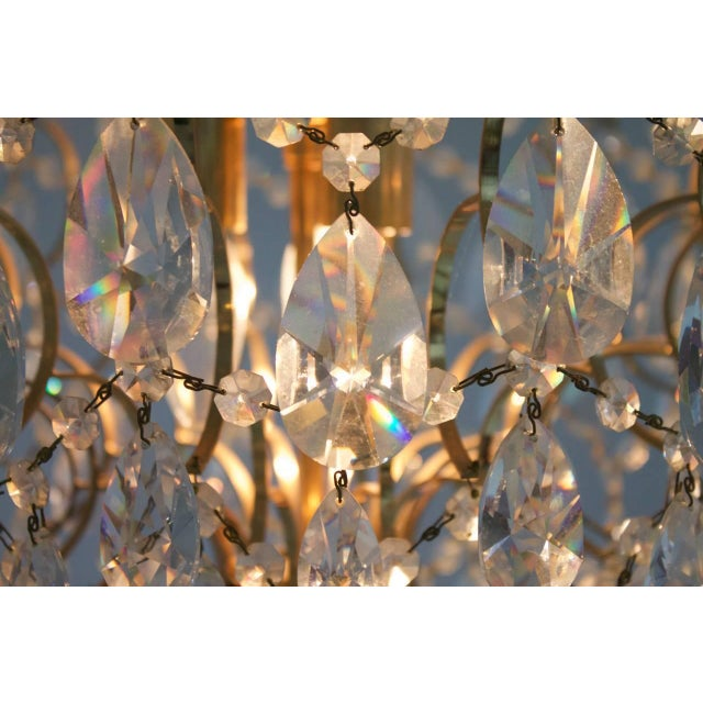 Swarovski Swarovski Crystal Glass and Gold Chandelier, 1970s For Sale - Image 4 of 5