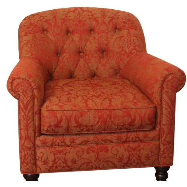 Martha Stewart Red and Gold Damask Accent Chair - Image 1 of 2
