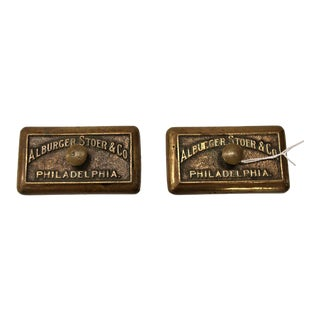 Pair of Antique Brass Advertising Paperweights, Alburger, Stoer & Co. Philadelphia For Sale