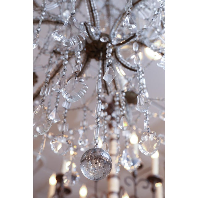 Italian Crystal Beaded Chandelier For Sale - Image 4 of 6