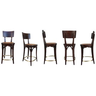 Set of Six Caned Seat and Wood Back Bar Stools For Sale