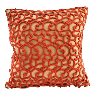 Dransfield & Ross Orange Lace Scroll on Linen Decorative Pillow