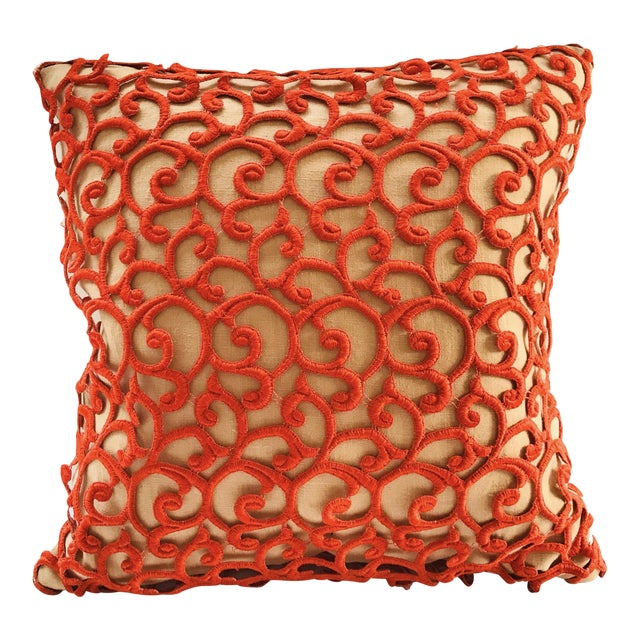 Dransfield & Ross Orange Lace Scroll on Linen Decorative Pillow For Sale
