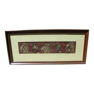 Mid 20th Century Framed Kalamkari Textile, Moghul Empire For Sale