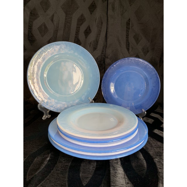 Cenedese Italian Murano Blue Translucent Opalescent Plate Settings - Set of 8 For Sale - Image 10 of 11