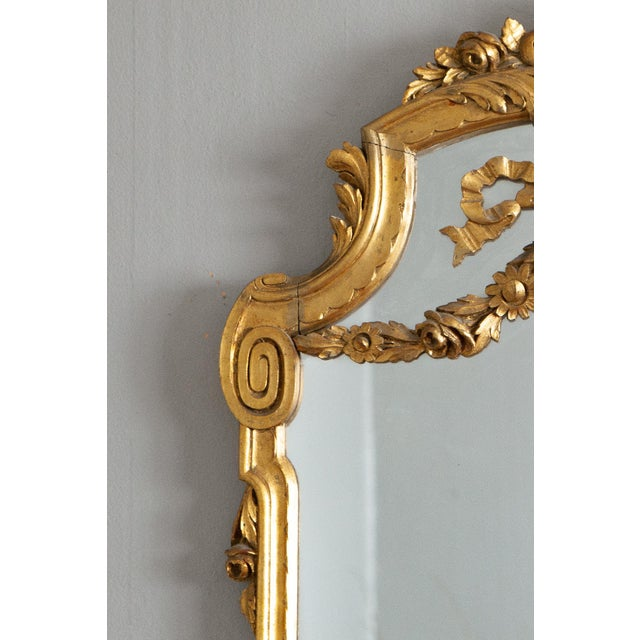 Late 19th Century 19th Century French Louis XVI Style Carved Gilt Classical Mirror For Sale - Image 5 of 7