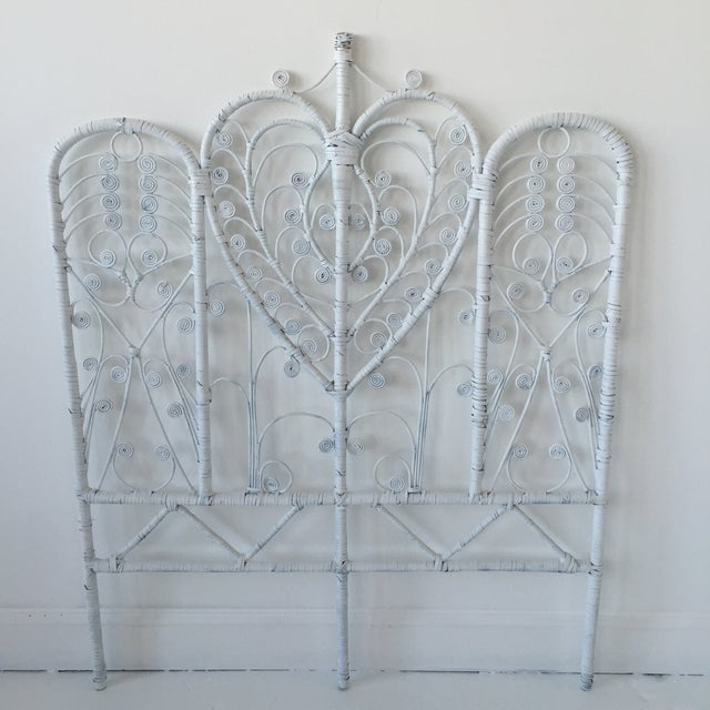 Vintage Rattan Peacock Twin Headboard For Sale - Image 7 of 9