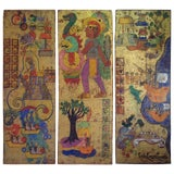Image of Hand-Painted Large Wood T'zintzuntzan Panels For Sale
