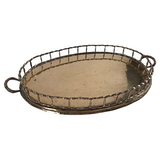 Large Brass Faux Bamboo Tray For Sale