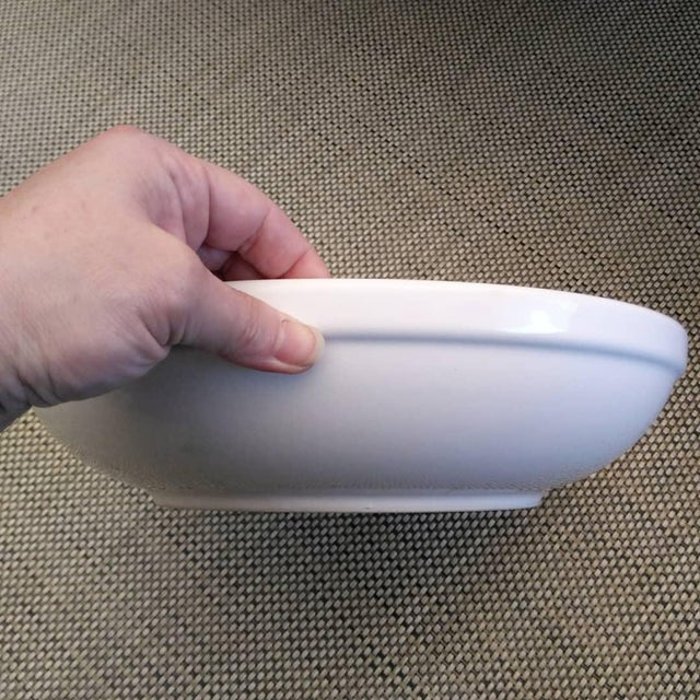 Extra Large Glazed Ceramic Glossy White Shallow Serving Bowl For Sale In Dallas - Image 6 of 8