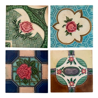 Late 19th Century Art Nouveau Majolica Style Tiles For Sale