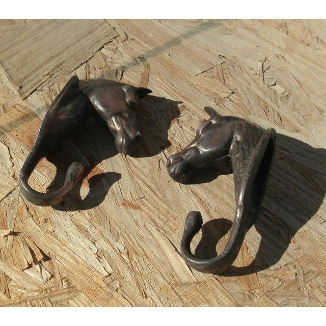 Vintage Metal Horse Head Wall Hooks - a Pair For Sale - Image 4 of 12