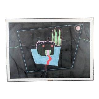 "Joe Davis ""The Happy House"" Paint on Paper For Sale"