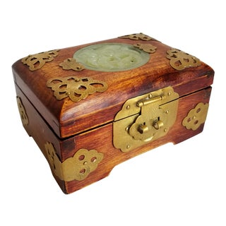 Vintage Chinese Wood Ornate Jewelry Trinket Box For Sale