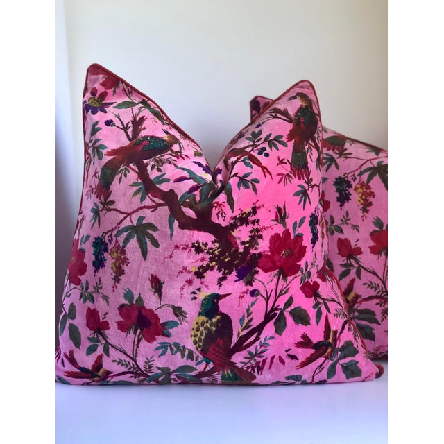 "Pair of 24"" x 24"" custom made pillow covers in the ultra-soft 100% cotton velvet in a pink chinoiserie print with contrast..."