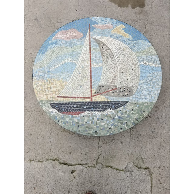 Exceptional Mosaic Tile Coffee Table With Sail Boat For Sale - Image 12 of 13