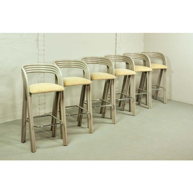 Very elegant set of six luxurious bamboo rattan bar stools designed by the famous Dutch designer Axel Enthoven for Rohé...