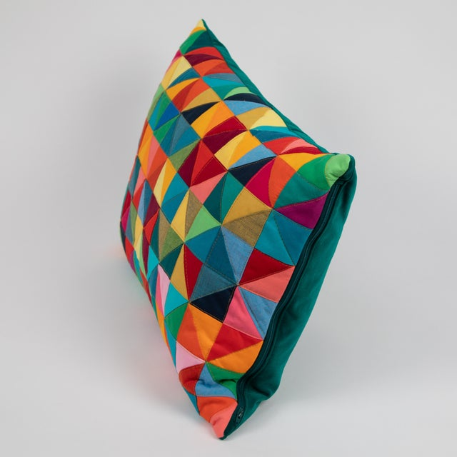 Cubism Modern Rectangular Colorful Quilted Pillow For Sale - Image 3 of 5