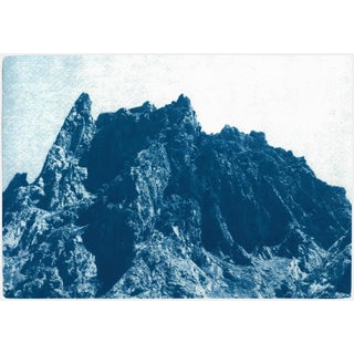 Rocky Mountain Desert, Contemporary Ladscape Cyanotype of the Atlas, Morocco by Kind of Cyan, 2020 For Sale