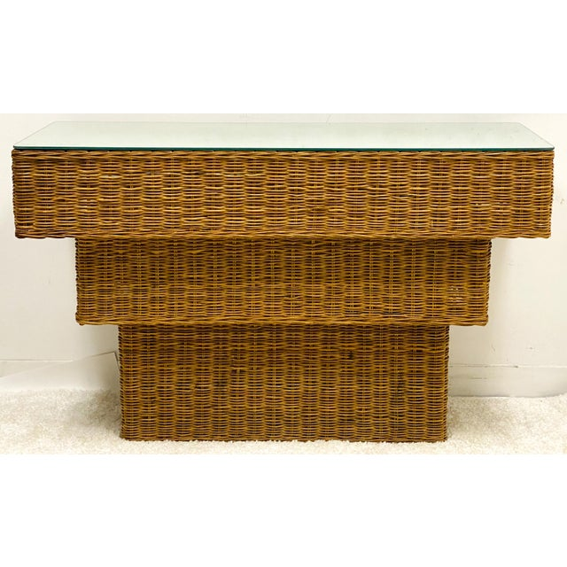 Wicker Mid-Century Modern Graduated Wicker Console Table For Sale - Image 7 of 7