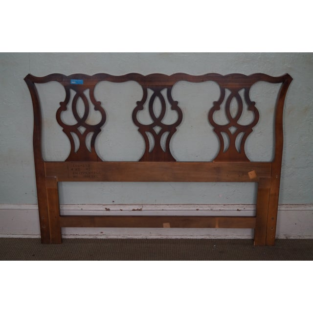 Drexel Heritage Drexel Heritage Queen Size Cherry Chippendale Style Headboard For Sale - Image 4 of 10