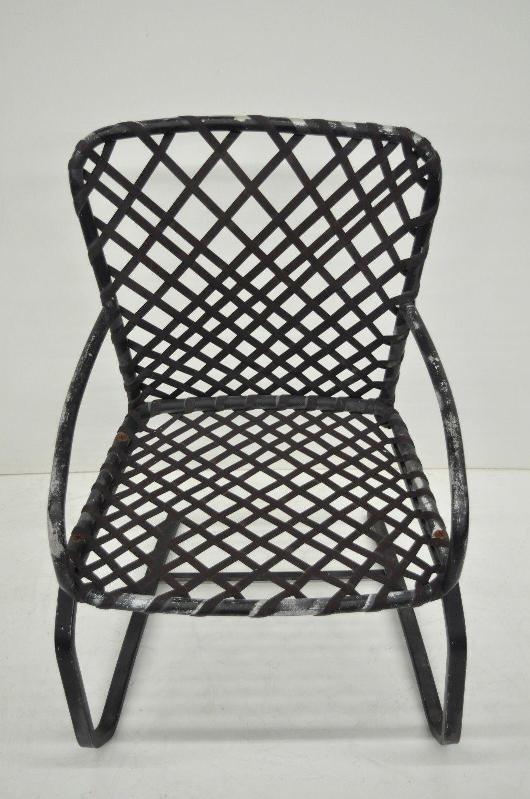 Pair Brown Jordan Tamiami Aluminum Vinyl Strap Patio Pool Flex Spring  Chairs Vintage