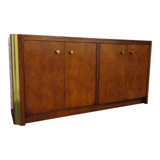 Hollywood Regency Long Credenza Sideboard Buffet Server Tv Console Cabinet For Sale