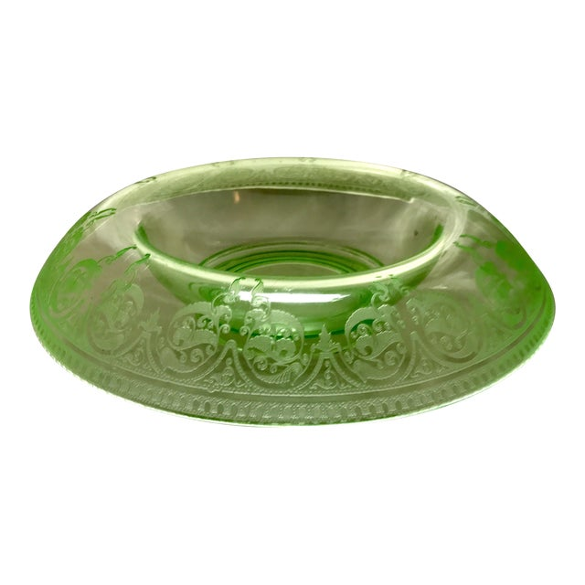 Etched Green Uranium Depression Glass Console Bowl For Sale