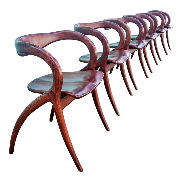 Vintage Solid Curved Cherry Wood Dining Chairs - Set of 6 For Sale
