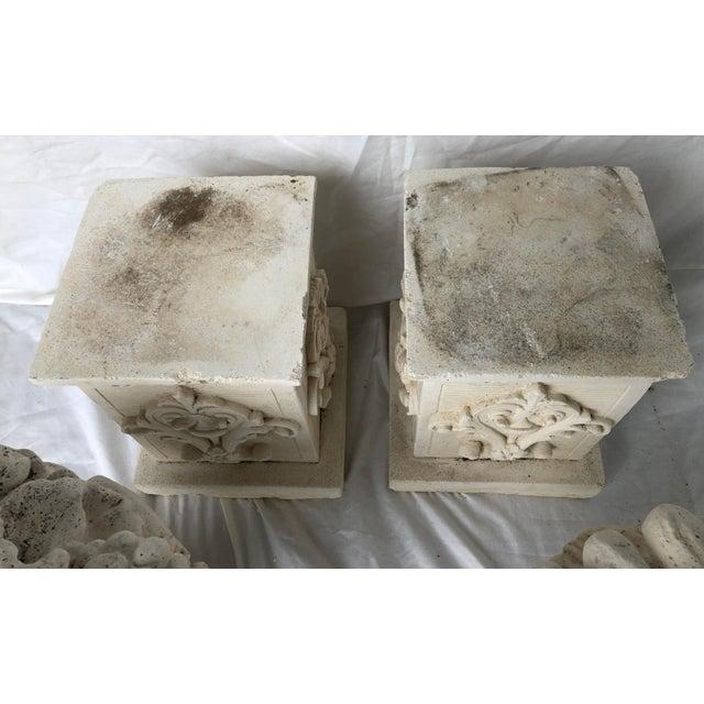 Concrete Vintage Mid Century Cast Stone Fruit Basket Finials on Pedestals- a Pair For Sale - Image 7 of 11