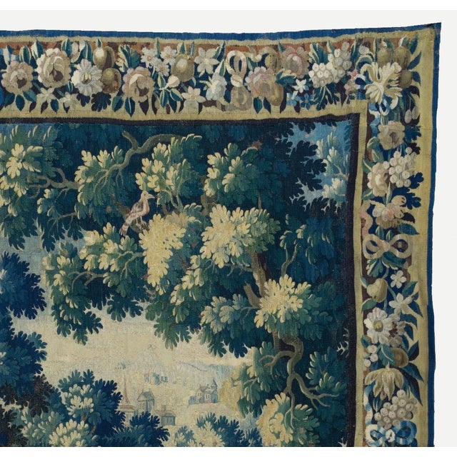 Baroque Antique Square 17th Century Flemish Verdure Landscape with Birds Tapestry For Sale - Image 3 of 10