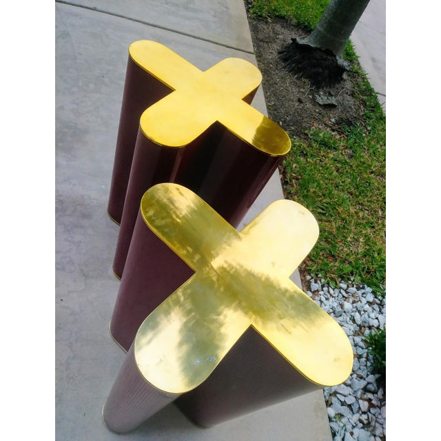 "A Pair Mid Century Modern Cherry Red and Brass ""X"" Style Table Bases Attributed to Curtis Jere For Sale - Image 9 of 11"
