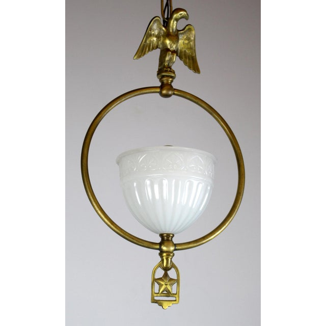 Hall Pendant with Eagle Motif and Original Shade. For Sale In Washington DC - Image 6 of 8