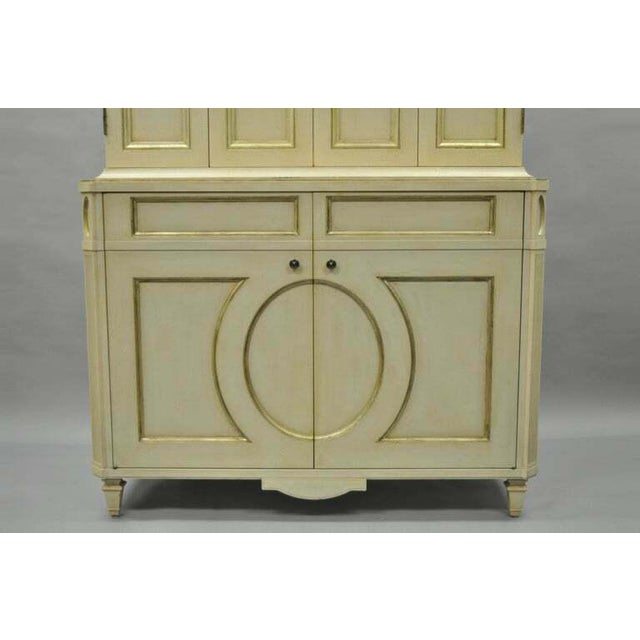 French Neoclassical Louis XVI Style Cream & Gold Painted Bar Cabinet by Decca A For Sale - Image 4 of 11