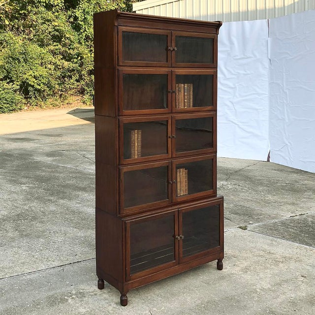 Neoclassical Revival Antique English Mahogany Bookcase ~ File Cabinet For Sale - Image 3 of 12