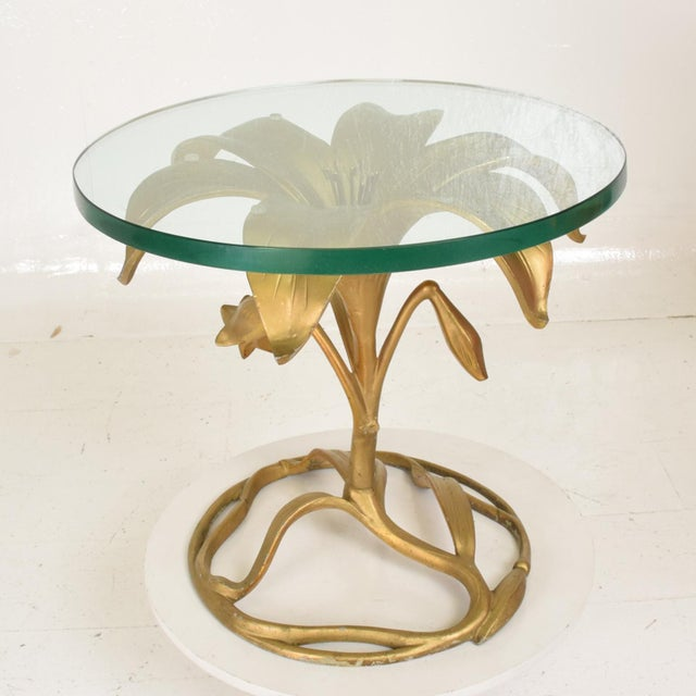 Hollywood Regency Hollywood Regency Side Aluminum Table by Arthur Court, Gilded Lily For Sale - Image 3 of 10